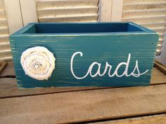 Distressed Teal and White Wedding Cards Box by SassySouthernCharm, $20.00