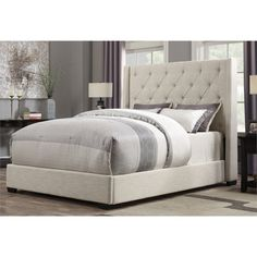 Lowest price online on all PRI Contemp Shelter Queen Upholstered Bed in Cream - DS-1927-251-250-KIT