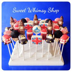 21 Cake Pops for London England British party by SweetWhimsyShop London Party, London Cake, England Party, Bus Cake, British Party, 2 Birthday Cake, Wilton Cake Decorating, Party Desserts, Themed Cakes