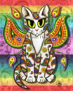 Rainbow Paisley Fairy Cat, Psychedelic Fairy Cat, Art Print Tigerpixie Fantasy Cat Art by Carrie Hawks Cat Lover Gifts, Cat Gifts, Lovers Art, Cat Lovers, Paisley Art, Paisley Pattern, Cat Online, Psy Art, Cat Art Print
