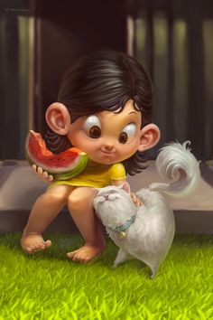 Art Character with her kitty Cute Cartoon Pictures, Cute Cartoon Girl, Cartoon Art, Cute Pictures, Cute Girl Drawing, Cute Drawings, Cute Illustration, Character Illustration, Kids Cartoon Characters