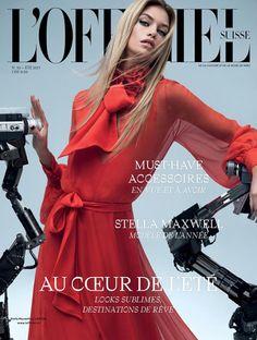 Stella Maxwell on L'Officiel Switzerland Summer 2017 Cover. She wears red Lanvin dress