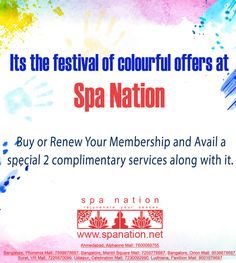 Spa Nation Special Offer. Buy or Renew your membership and avail 2 complimentary services along with it. #festival #spa #spanation #membership #membershipoffer