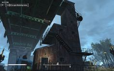 My Finch Farm overpass elevator solution--a three-floor and four-floor elevator snapped together and wrapped in barn walls and stairs for the stupid NPCs. Fallout 4 Tips, Fallout Lore, Apocalypse House, Fallout 4 Settlement Ideas, Base Building, Bethesda Games, Fall Out 4, Three Floor, Graphic Art