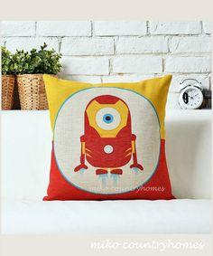 $15   Despicable Me Minions Superheroes   Iron Man   Throw Pillow Cover   45x45cm 18x18 #despicableme #minions #pillowcover