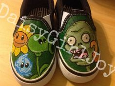 Custom Hand Painted Plants Vs Zombies 2 Toddler Children's shoes by DaisyGirlJoy on Etsy