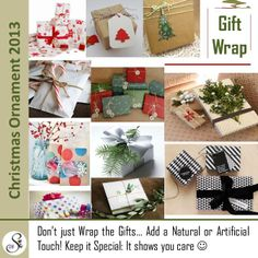 Everybody loves a Gift! Small or big, expensive or symbolic, we all like receiving them. Why not personalize your gifts with the 2013 trends: Inspired from nature or handmade, these wraps are just a few Ideas.