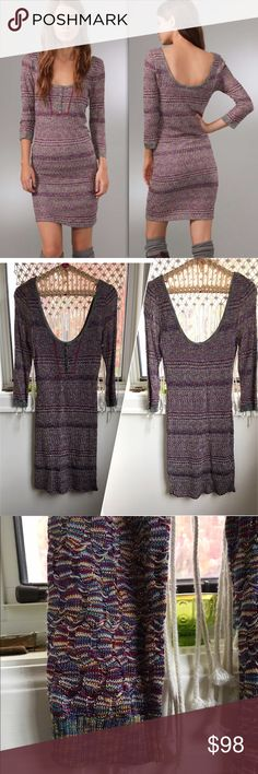 """Free People Sunrise Knit Dress Perfect for Spring! This is a beautifully knit piece with an array of gorgeously meshed colors, generous scoop neck and back, long sleeve, built in slip, 39"""" overall length PRICE FIRM UNLESS BUNDLED Free People Dresses Mini"""