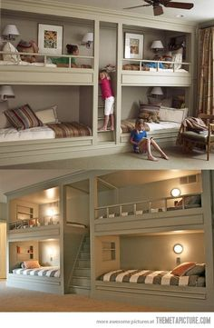 bedroom for basement. Extra beds for forts, reading nook and sleepovers… Forget that, this would be awesome for multiple kids in one room!
