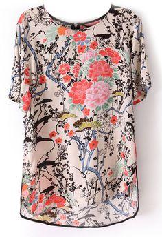 Beige Short Sleeve Floral Print Zip Back Blouse - Sheinside.com
