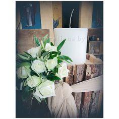 Στολισμός γάμου με ελιά και λευκό τριαντάφυλλο...Wedding decoration...olive & rose.... Κορμοί κ γήινα χρώματα... weddind decoration details...λαμπάδες γάμου κορμοί... Diy Wedding, Tote Bag, Totes, Tote Bags