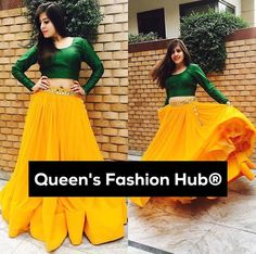 Green crop top with mango colour lehenga. Lehenga Choli Designs, Lehenga Designs Simple, Lehenga Gown, Lehnga Dress, Anarkali, Dress Skirt, Indian Attire, Indian Wear, Indian Designer Outfits