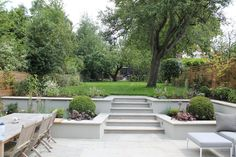 Summer Orchard Garden beds on a slope retaining walls Landscape Edging Stone, Landscape Design, Sloped Garden, Garden Beds, Garden Retaining Wall, Sunken Garden, Low Retaining Wall Ideas, Sunken Patio, Gravel Patio