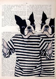 NOT GUILTY giclee print poster mixed media animal painting illustration drawing terriers