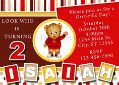 Cute Daniel Tiger's Neighborhood Digital Birthday Party Invitation,
