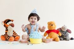 Cake smash, Winnie the Pooh, tie and suspenders, first birthday,  © Dimery Photography 2013