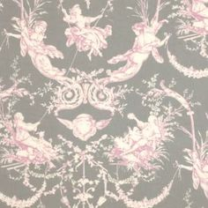 French Toile Fabric in Pink and Grey from www.jim-lawrence.co.uk #valentine