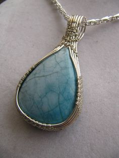 Unisex Aqua blue gemstone Summer souvenir Silver plated wire
