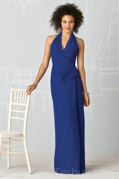 V Neck Halter Royal Blue Column Elegent Bridesmaid Dresses On Sale,Wholesale cheap bridesmaid dress online - Prom Dresses 2012_Plus Size Prom Dress_Plus Size Wedding Dress-TesBuy.com