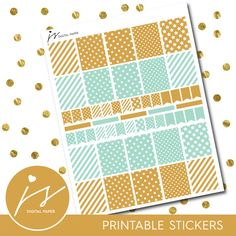 Turquoise Gold Printable Stickers Planner by JSdigitalpaper
