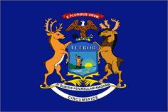 Michigan State Flag - Michigan's official flag was adopted by the Legislature in 1911 with a simple description: The State Flag shall be blue charged with the arms of the State (the state coat of arms appears on both sides of the flag). Animal symbols: Moose and Elk represent Michigan, the bald eagle signifies the United States.