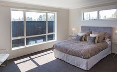 Lots of light in this room with large windows. Windows, Decor, Large Windows, Furniture, House, Bed, Home, Home Decor, Room