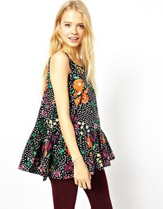 ASOS Cami Top with Drop Peplum in Flower Spot Print