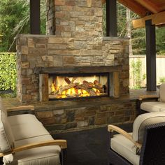 Contemporary Rustic Style Outdoor Stony Fireplace Design With Cozy Cream Cushions Seat Living Chairs On Granite Tile Floor Under Teak Wood Gazebo Roof With Outside Fireplace And Natural Gas Fireplace Modern Outdoor Relaxing Area With Fireplace Kits