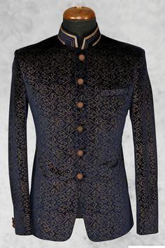 Buy Black presentable velvet suit with bandhgala collar Online Wedding Dresses Men Indian, Wedding Dress Men, Wedding Suits, Indian Men Fashion, Mens Fashion Suits, Mens Suits, Prince Suit, Velvet Suit, Blue Velvet