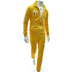 (RBNS01-YELLOW) Slim Zipper Training Jacket Pants Set