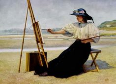 Image result for retro artist painting at easel