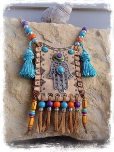Hamsa Hand Leather medicine bag, Tribal Ibiza summer by GPyoga. Textile Jewelry, Fabric Jewelry, Leather Jewelry, Leather Craft, Fabric Necklace, Boho Bags, Painting Leather, Hamsa Hand, Leather Pouch