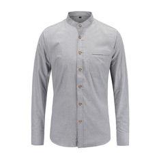 3d2bfe552b74 Dioufond Mens Solid Long Sleeve Shirts Casual White Mandarin Collar Cotton  Male Tops Pocket Fashion Men