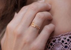 too expensive! but love the concept, especially the rose gold option! Thin Love Ring by MinimalVS | Etsy