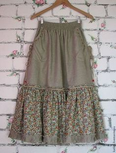 """Order Linen skirt """"In the meadow"""". Arts and crafts fair. Boho skirt, linen skirt sew einfach clothes crafts for beginners ideas projects room Girly Outfits, Skirt Outfits, Dress Skirt, Midi Skirt, Dress Shoes, Boho Fashion, Fashion Dresses, Bohemian Mode, Handmade Skirts"""