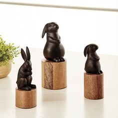 Irresistible Easter decor you'll want to leave out all year round. Our Bunny on Stand sculptures are made of cast aluminum with adorable details and dark bronze finish. Each bunny sits demurely on a smooth log of natural mango wood. Mix and match sizes and styles for an instant collection. Add bunny decor to any Easter tabletop. #EasterDecor #BunnyDecor Sculpture Stand, Sculptures, Antelope Rug, Personalized Towels, Fabric Gifts, Ballard Designs, Accent Pieces, French Vintage, Accent Decor