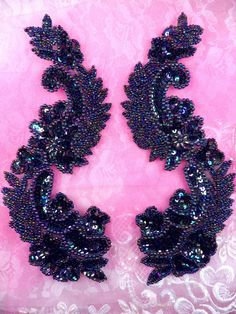 "0180 Black AB Aurora Borealis Mirror Pair  Sequin Beaded Appliques 8"" (0180X-bkab)"