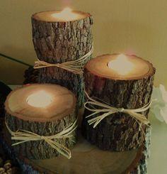 "TREASURY ITEM - Set of 3 - ( 3"", 5"", 7"" ) Oak Tree branch candles - Rustic Wedding - Home decor - Cabin decor via Etsy"