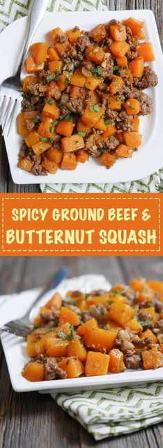 Spicy Ground Beef & Butternut Squash by Ashley of http://MyHeartBeets.com
