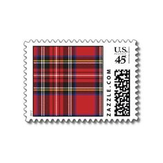 Red Tartan Plaid Postage Stamp