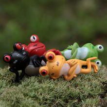 4 pçs/lote mini desenhos animados rãs jardim de fadas miniaturas gnome musgo terrários mini kawaii resina artesanato casa decoração para casa(China (Mainland))