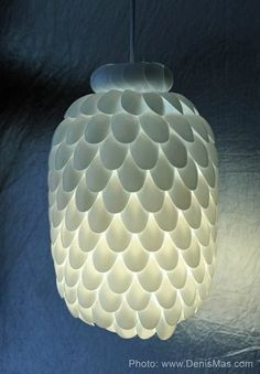 Upcycled plastic spoon lamp.