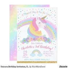 Shop Unicorn Birthday Invitation, Unicorn Party Invite created by YourMainEvent. Rainbow Invitations, Unicorn Birthday Invitations, Unicorn Birthday Parties, Birthday Fun, Birthday Ideas, Unicorn Party Supplies, Custom Invitations, Magical Unicorn, Magical Girl