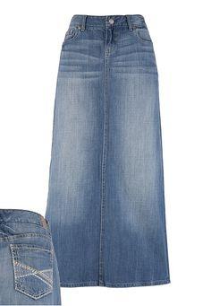 Long jean skirt for bridesmaids Modest Skirts, Modest Wear, Modest Outfits, Modest Fashion, Fashion Outfits, Long Jean Skirts, Jean Skirt Outfits, Denim Skirt, Modest Clothing