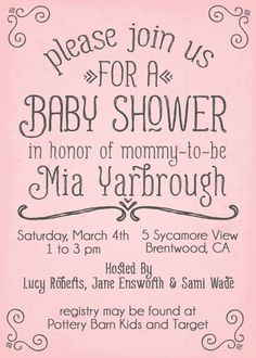 pink simple swirls baby shower invitation for girls