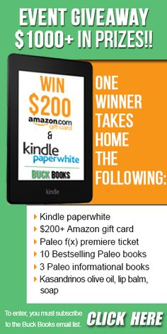 Premiere Paleo f(x) event ticket  Kindle Paperwhite $200 Amazon Gift Card 13 top paleo books in paperback and hardback Lotsa foodie things