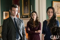 """The Originals -- """"Exquisite Corpse"""" -- Image Number: OR217a_0170.jpg -- Pictured (L-R) Daniel Gillies as Elijah, Phoebe Tonkin as Hayley and Nishi Munshi as Gia -- Photo: Tina Rowden/The CW -- © 2015 The CW Network, LLC. All rights reserved."""