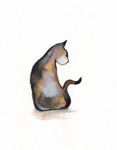 Cali / Calico Cat / Minimal black and white Brown by kellybermudez, $20.00