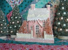Small Pink Cottage Lighted Putz Christmas House Paper Mache New