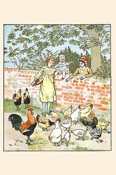 Children feed the chickens